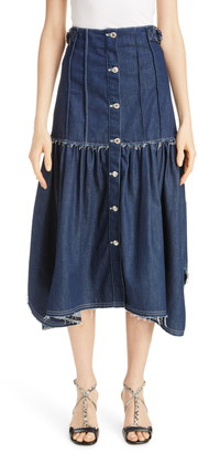 Chloé Pintuck Denim Midi Skirt