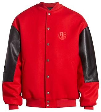 Balenciaga College Wool & Leather Bomber Jacket