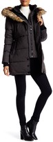 NOIZE Anastacia Assymetrical Zip Faux Fur Trim Hooded Coat