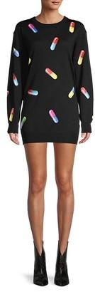 Moschino Pill-Print Virgin Wool Mini Sweatshirt Dress