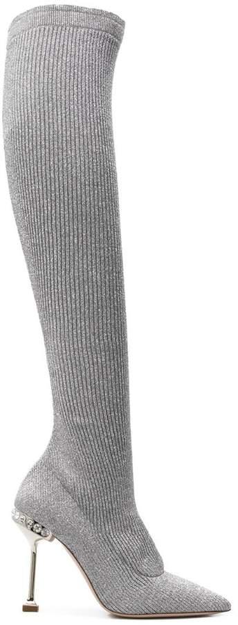 Miu Miu pointed knee-length boots