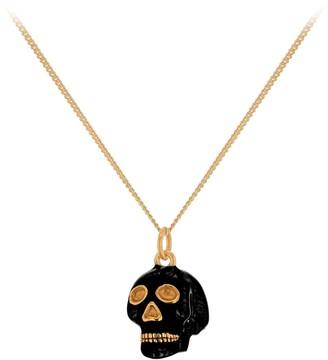 True Rocks New SS19 Small Skull Pendant In Black Enamel & 18 Carat Gold Plated Detail & Chain