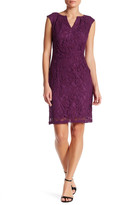 Adrianna Papell Cap Sleeve Split Neck Scroll Lace Dress (Missy & Petite)