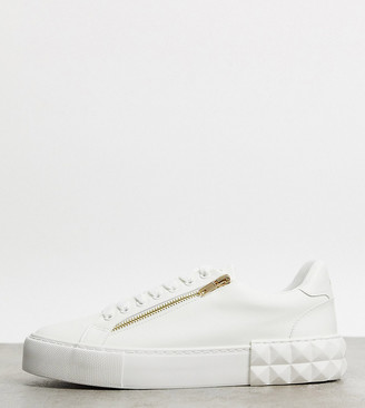 ASOS DESIGN Wide Fit trainers in white with zips and diamond sole