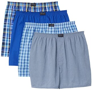 Jockey Active Blend Woven Boxer 4-Pack (Daring Plaid/Shy Stripe/Clever Plaid/Silver Shy Stripe) Men's Underwear