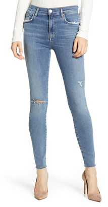 A Gold E AGOLDE Sophie High Waist Ripped Raw Hem Ankle Skinny Jeans