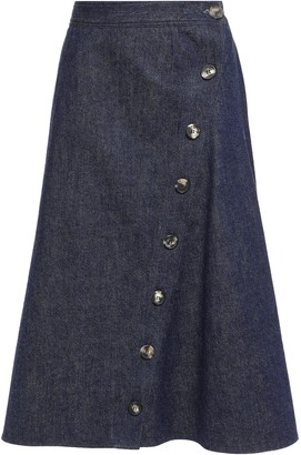 Carolina Herrera Flared Button-detailed Denim Midi Skirt