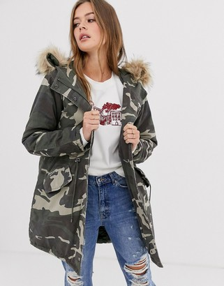 New Look cotton parka jacket in camo-Green