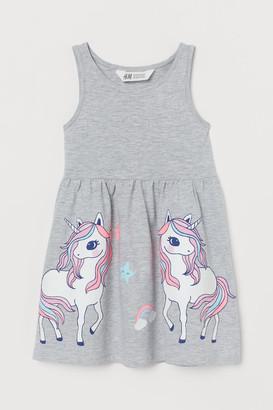 H&M Patterned Jersey Dress - Gray