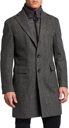 Neiman Marcus Men's Herringbone Wool Storm System Topcoat w/ Bib
