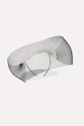 Philip Treacy Crinoline-trimmed Straw Headpiece - White