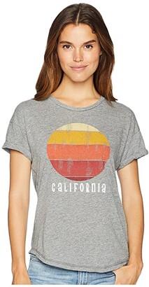 Original Retro Brand The California Mock Twist Rolled Short Sleeve Tee (Mock Twist Heather Grey) Women's T Shirt