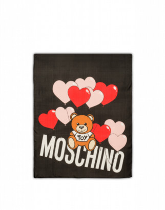Moschino Silk Scarf Heart Baloons Teddy Woman Black Size Single Size