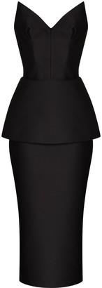 Rasario Strapless Layered Midi Dress