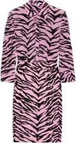 Moschino Tiger-print silk-chiffon and crepe shirt dress