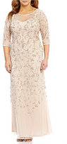 Adrianna Papell Plus Beaded Floral-Scroll Gown