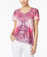 JM Collection Paisley-Print Chiffon-Sleeve Top, Only at Macy's