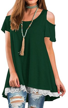 Kalorywee Sale Clearance Women's Off Shoulder Lace Hem Short Sleeve Round Neck Tunic Tops T-Shirt Ladies Casual Blouse Tee Green