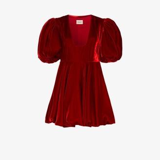 KHAITE Leona puff sleeve velvet dress