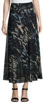 Fuzzi Abstract-Print Tulle Midi Skirt, Black/Blue