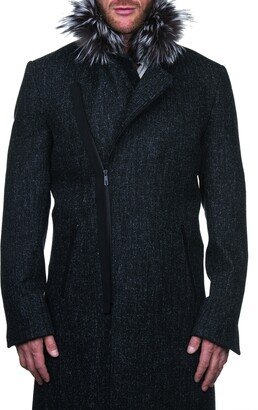 Maceoo Wool & Cashmere Jacket with Genuine Fox Fur Trim