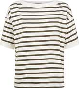 Jaeger Cotton Boat Neck Stripe Top