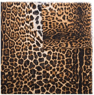 Saint Laurent Leopard-Print Frayed Scarf