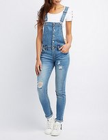 Charlotte Russe Distressed Button-Up Denim Overalls