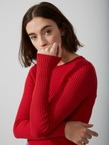 Frank + Oak Cotton-Blend Scoopneck Sweater in Bright Red
