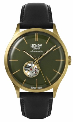 Henry London Mens Skeleton Automatic Watch with Leather Strap HL42-AS-0282
