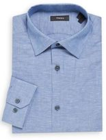 Theory Textured Linen-Cotton Dress Shirt