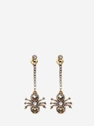 Alexander McQueen Pave Spider Chain Earrings