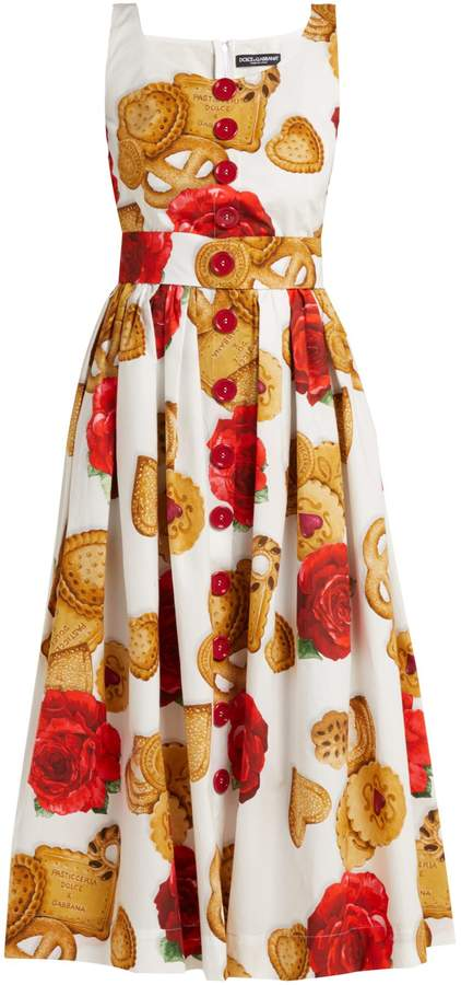 Dolce & Gabbana Biscotti and rose cotton midi dress