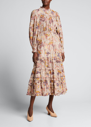 Ulla Johnson Laraline Tiered Long-Sleeve Floral Midi Dress