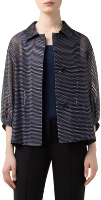 Akris Punto Dot & Stripe Puff Sleeve Organza Jacket