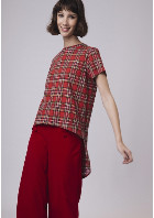 Compania Fantastica - Red Check Checkered Print High Low T-Shirt - SMALL - Red/Black