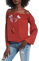 Love, Fire Embroidered Off the Shoulder Top