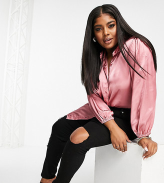 Yours satin blouse in rose