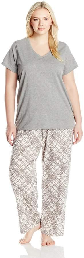 Hue Women's Plus Size Etched Plaid Pajama Pant Set