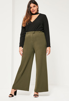 Missguided Plus Size Khaki Wide Leg Trousers