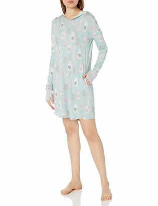 Munki Munki Women's Jersey Long Sleeve Hooded Drop Shoulder Nightshirt