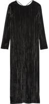 Rosetta Getty Plissé-velvet Maxi Dress - Black