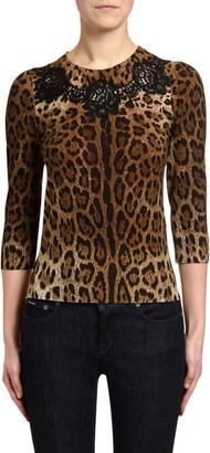 Dolce & Gabbana Leopard Print 3/4-Sleeve Laced Sweater