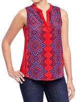Old Navy Women's Scarf Print Sleeveless Blouses