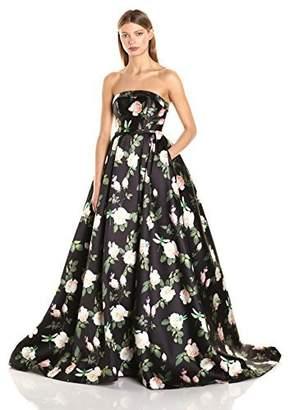 Mac Duggal Women's Strapless Floral Makkado Ball Gown