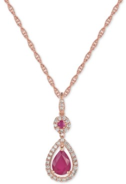 Macy's Certified Ruby (1-1/4 ct. t.w.) and Diamond (1/3 ct. t.w.) Pendant Necklace in 14k Rose Gold (Also Available In Tanzanite)