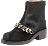 Givenchy Calf Hair Curb Chain Ankle Boot, Black