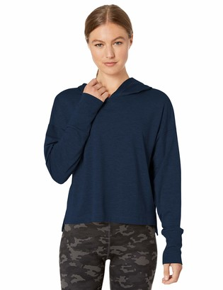 Core 10 Soft Workout Cropped Hoodie Sweatshirt Navy/Black Heather XS (0-2)