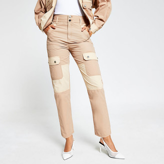 River Island Beige colour blocked twill cargo trousers