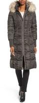 Tahari Women's Elizabeth Faux Fur Trim Hooded Long Coat